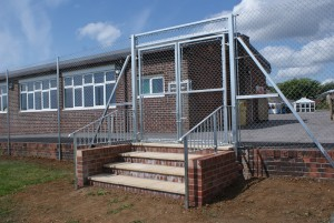 2.4m chain link with gates and handrail