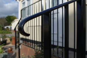 Metal balustrades and hand rails detail